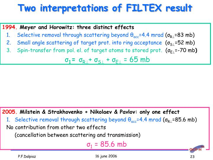 Two interpretations of FILTEX result