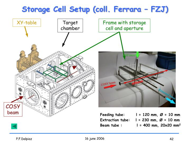 Storage Cell Setup (coll. Ferrara – FZJ)