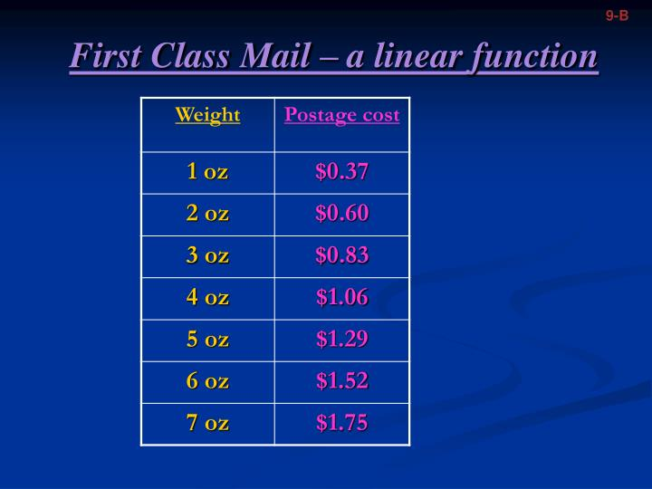 First class mail a linear function