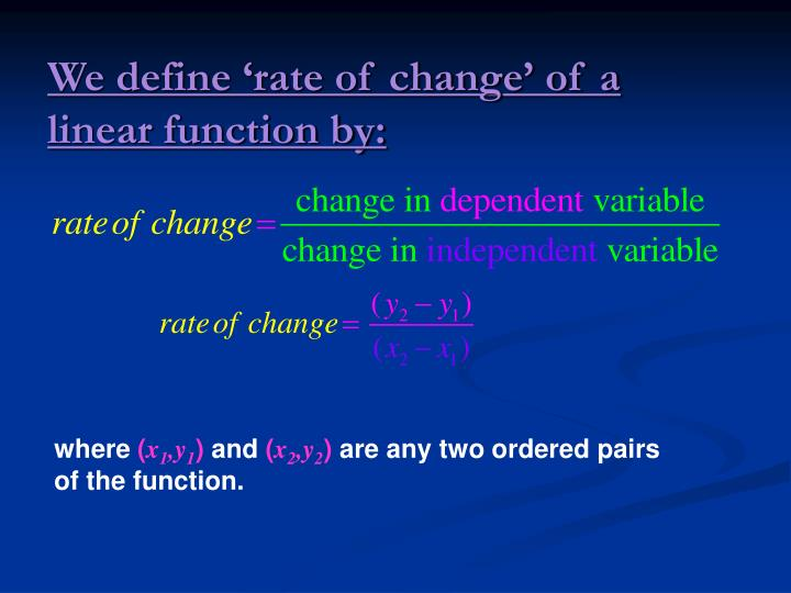 We define 'rate of change' of a linear function by: