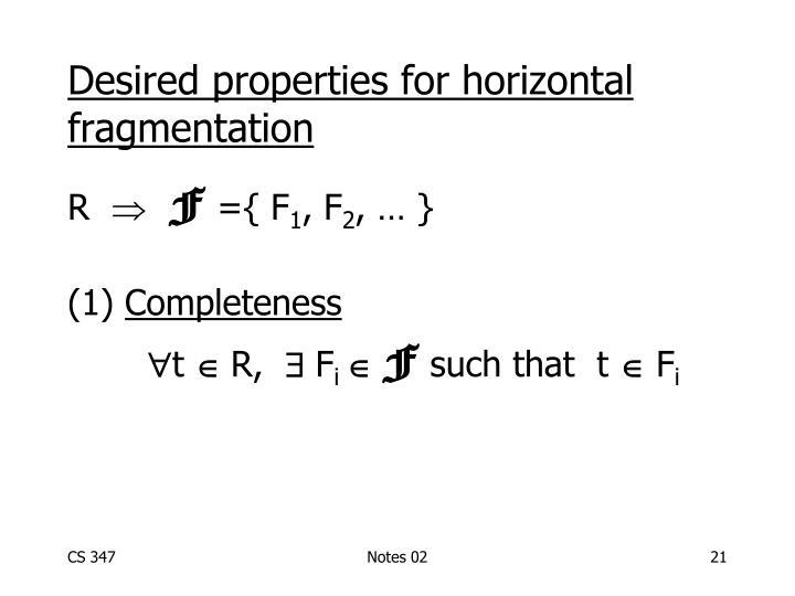 Desired properties for horizontal fragmentation