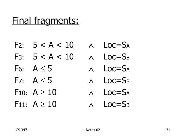 Final fragments: