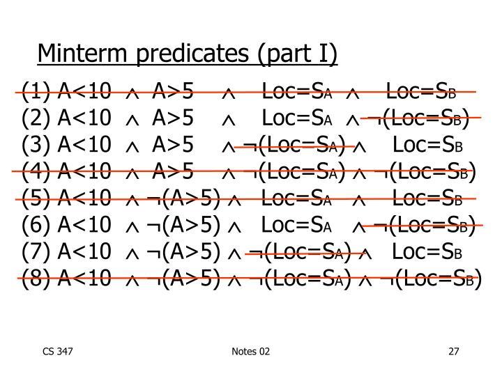 Minterm predicates (part I)