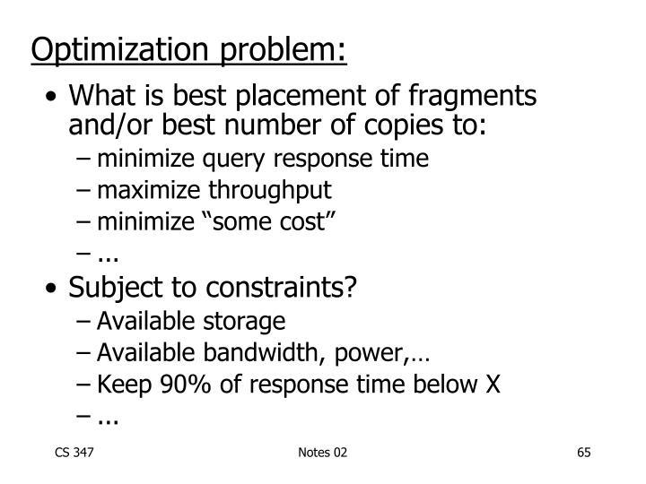 Optimization problem: