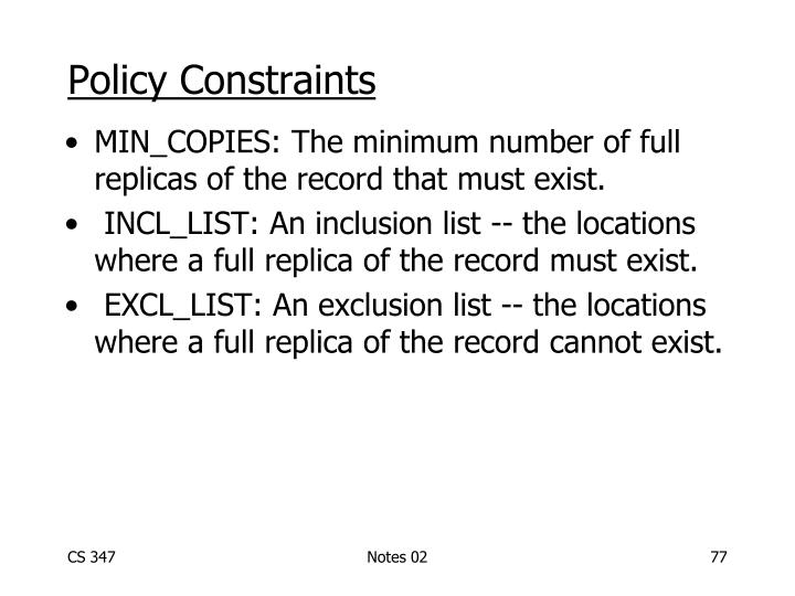 Policy Constraints