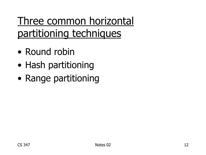 Three common horizontal partitioning techniques