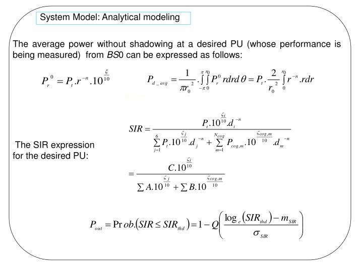 System Model: Analytical modeling