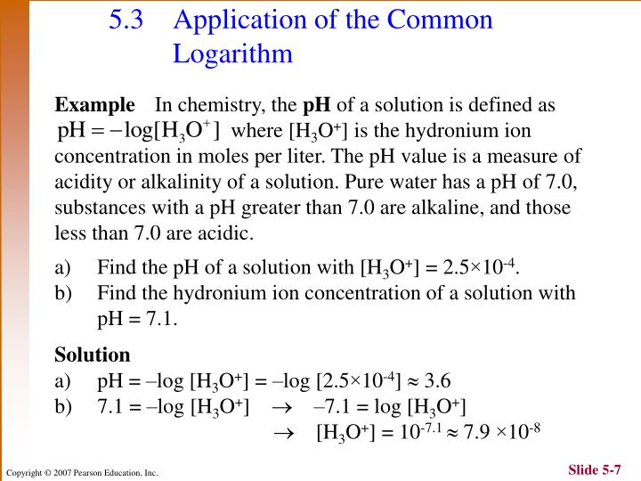 5.3 Application of the Common Logarithm
