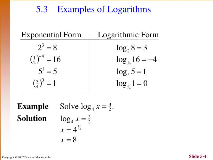 5.3 Examples of Logarithms