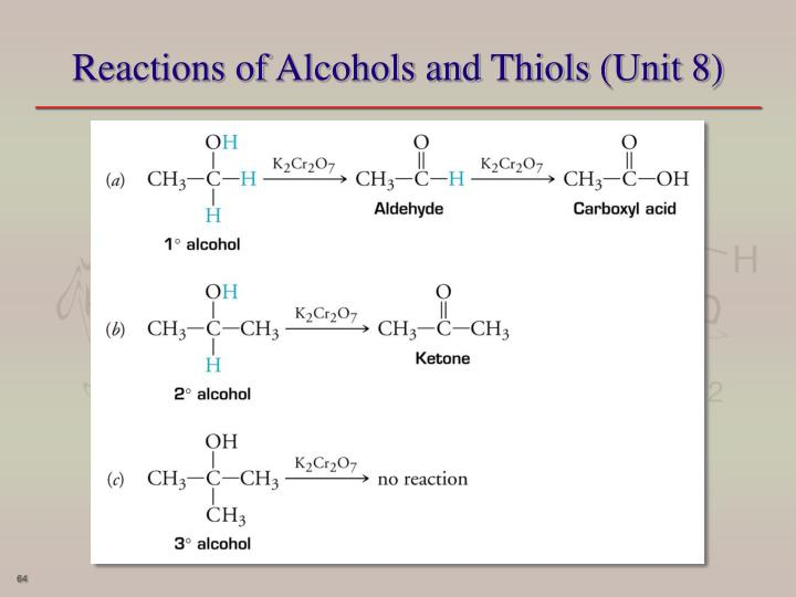 Reactions of Alcohols and Thiols (Unit 8)