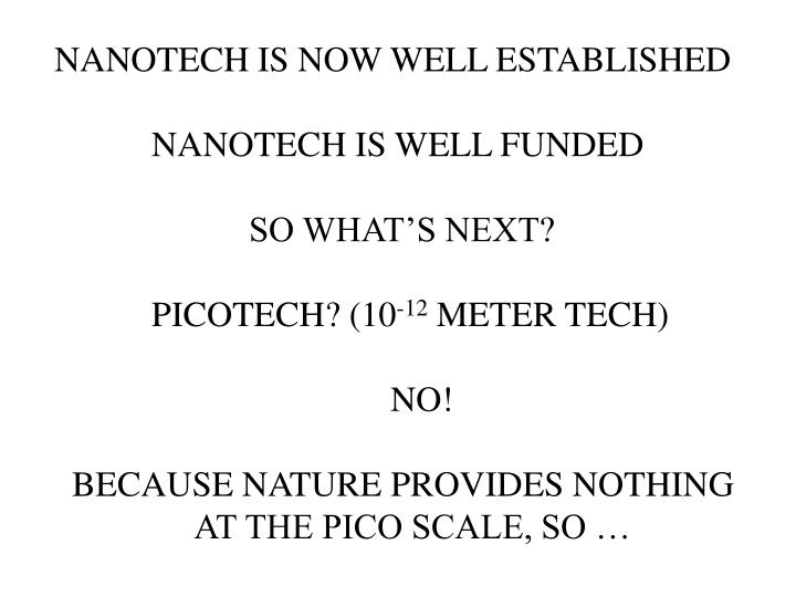 NANOTECH IS NOW WELL ESTABLISHED