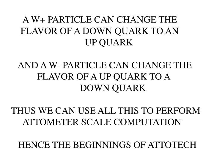 A W+ PARTICLE CAN CHANGE THE