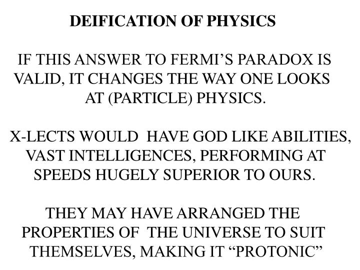 DEIFICATION OF PHYSICS
