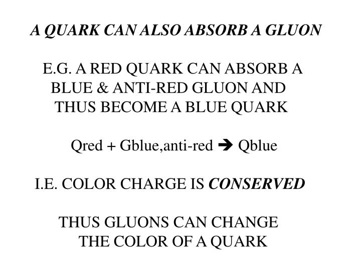 A QUARK CAN ALSO ABSORB A GLUON