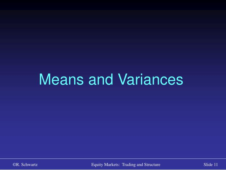 Means and Variances