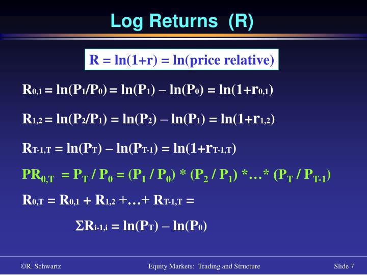 Log Returns  (R)