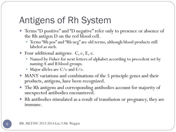 Antigens of Rh System