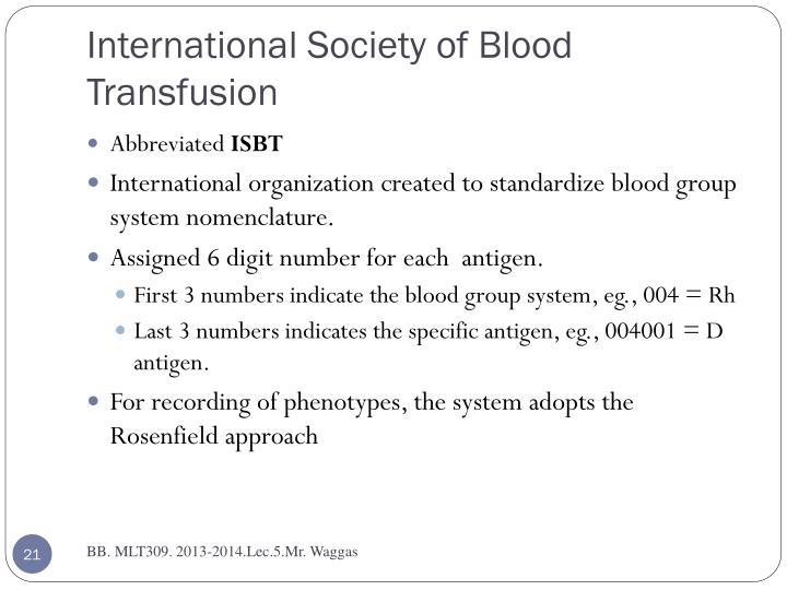 International Society of Blood Transfusion