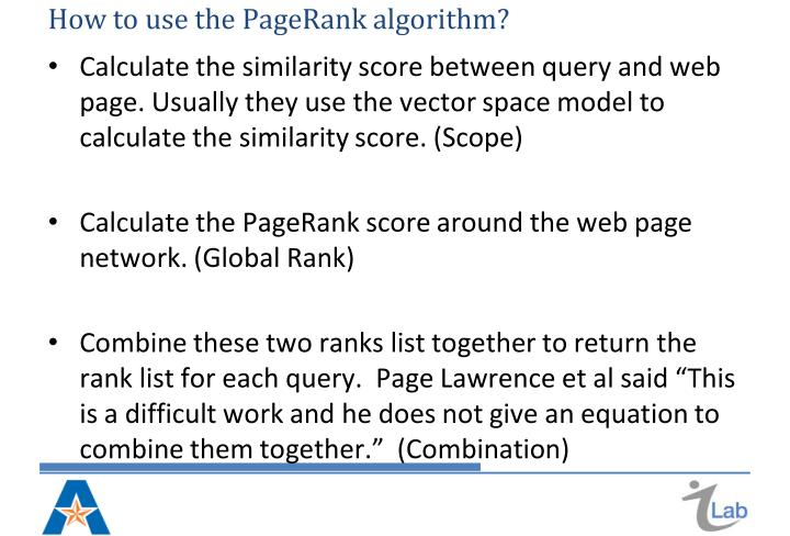 parallelization of pagerank and hits algorithm Lecture #3: pagerank algorithm - the mathematics of google search we live in a computer era internet is part of our everyday lives and information is only a click away.