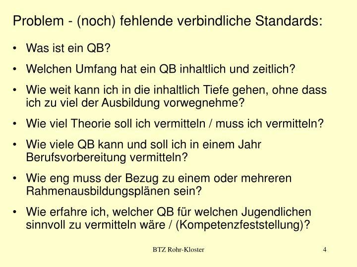 Problem - (noch) fehlende verbindliche Standards: