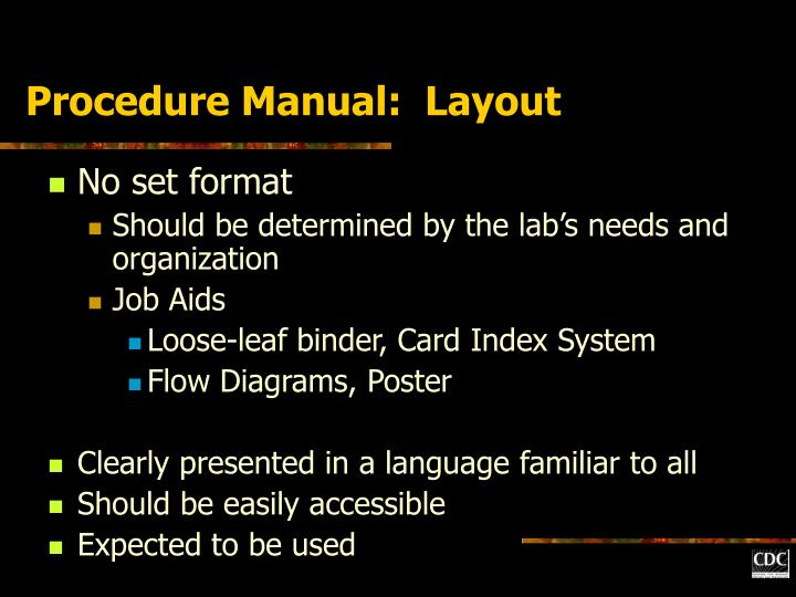 Procedure Manual:  Layout