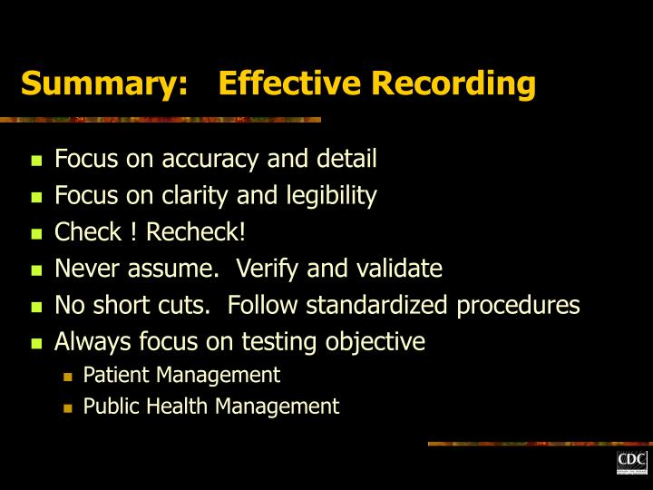 Summary:   Effective Recording