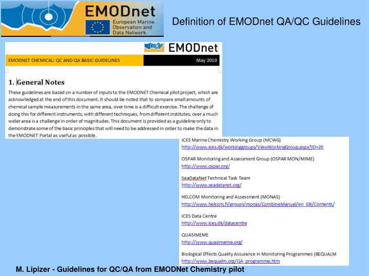 Definition of EMODnet QA/QC Guidelines