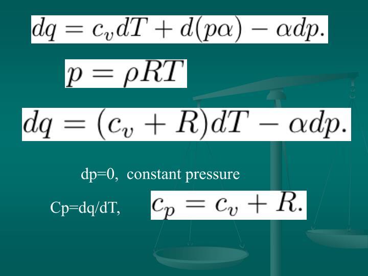 dp=0,  constant pressure