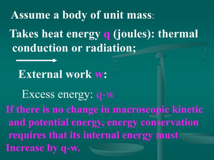Assume a body of unit mass