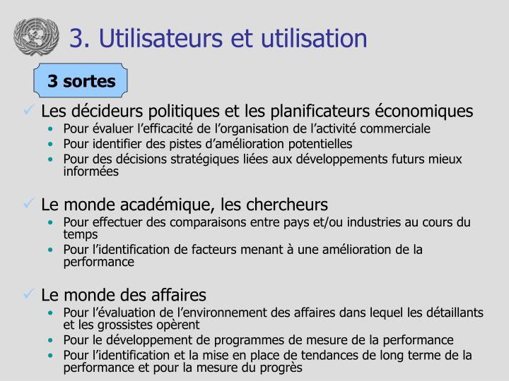 3. Utilisateurs et utilisation