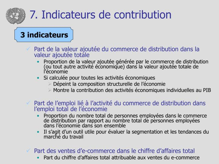 7. Indicateurs de contribution
