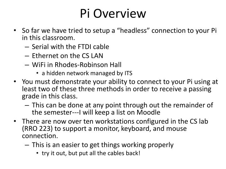 Pi overview