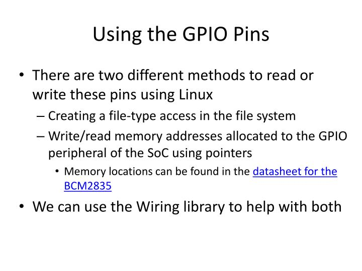 Using the GPIO Pins