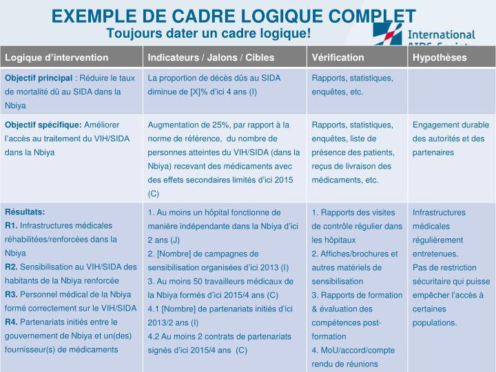 EXEMPLE DE CADRE LOGIQUE COMPLET