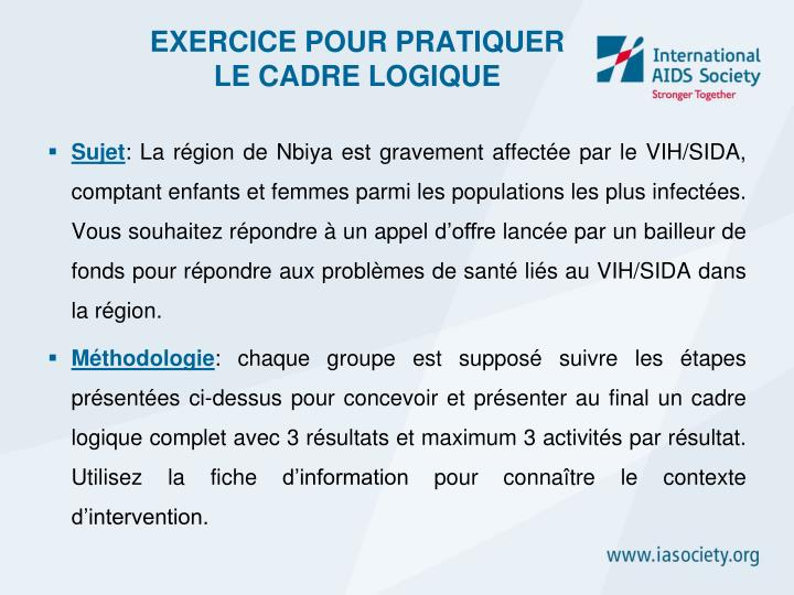 EXERCICE POUR PRATIQUER