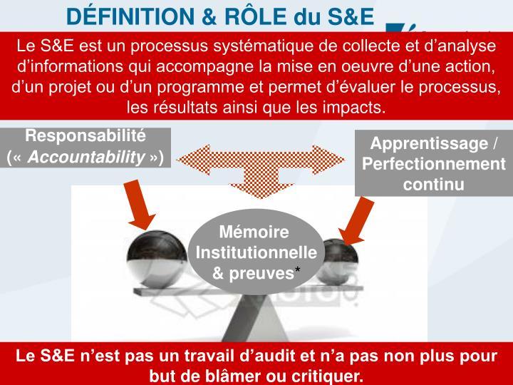 DÉFINITION & RÔLE du S&E