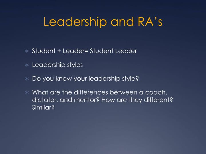 Leadership and RA's