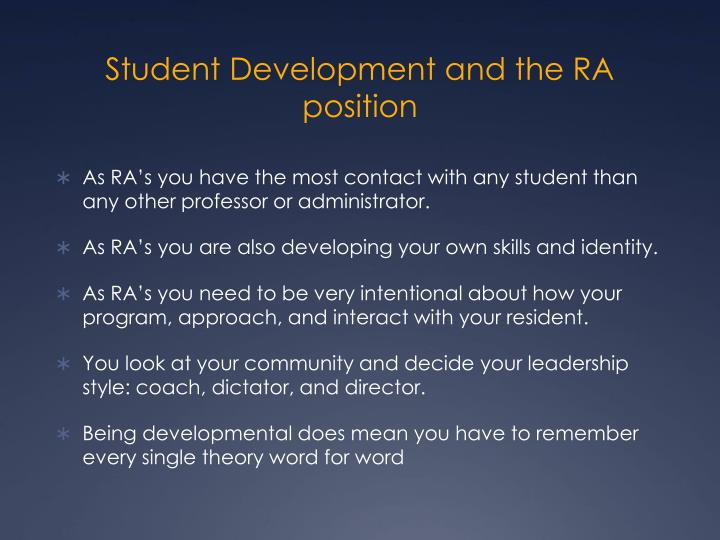 Student Development and the RA position