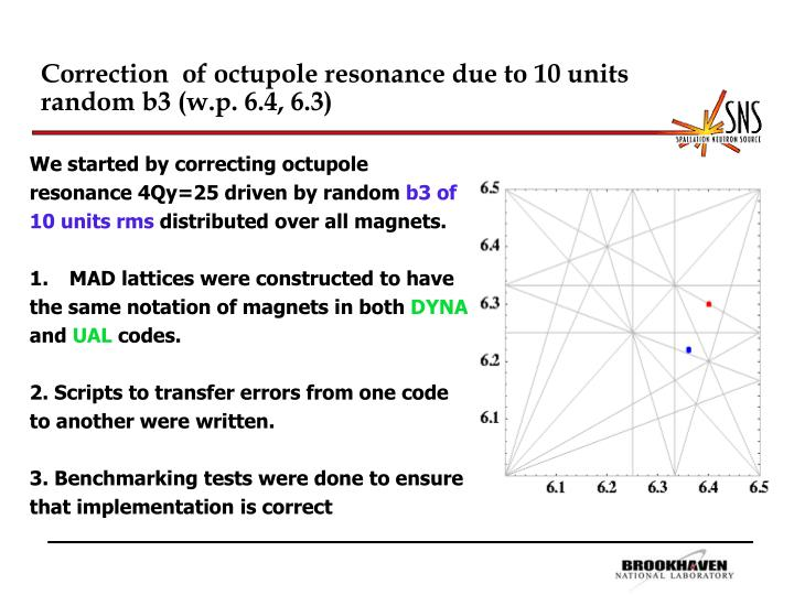 Correction  of octupole resonance due to 10 units