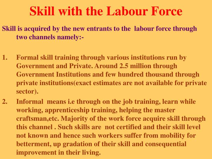 Skill with the Labour Force