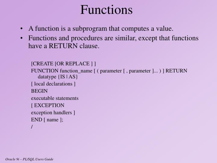 A function is a subprogram that computes a value.