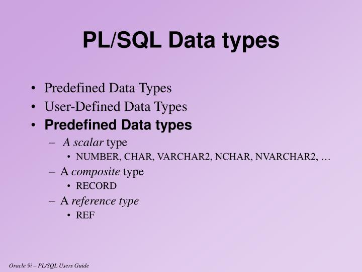 Predefined Data Types