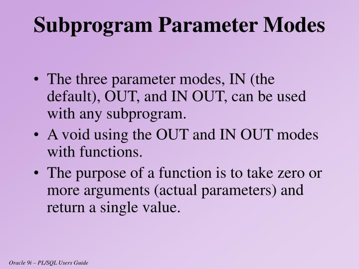 The three parameter modes,