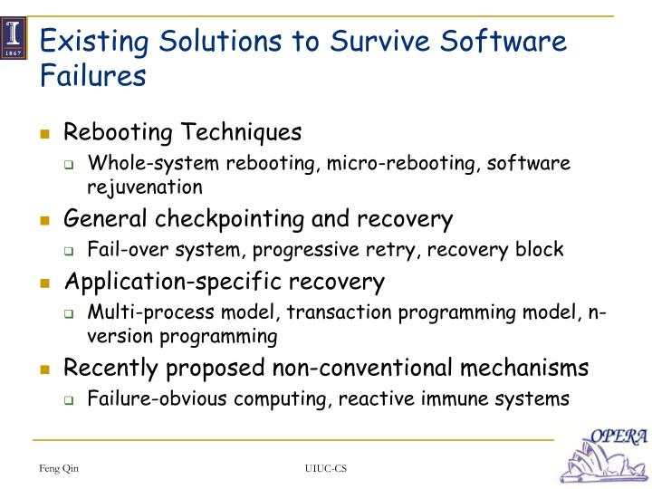 Existing solutions to survive software failures