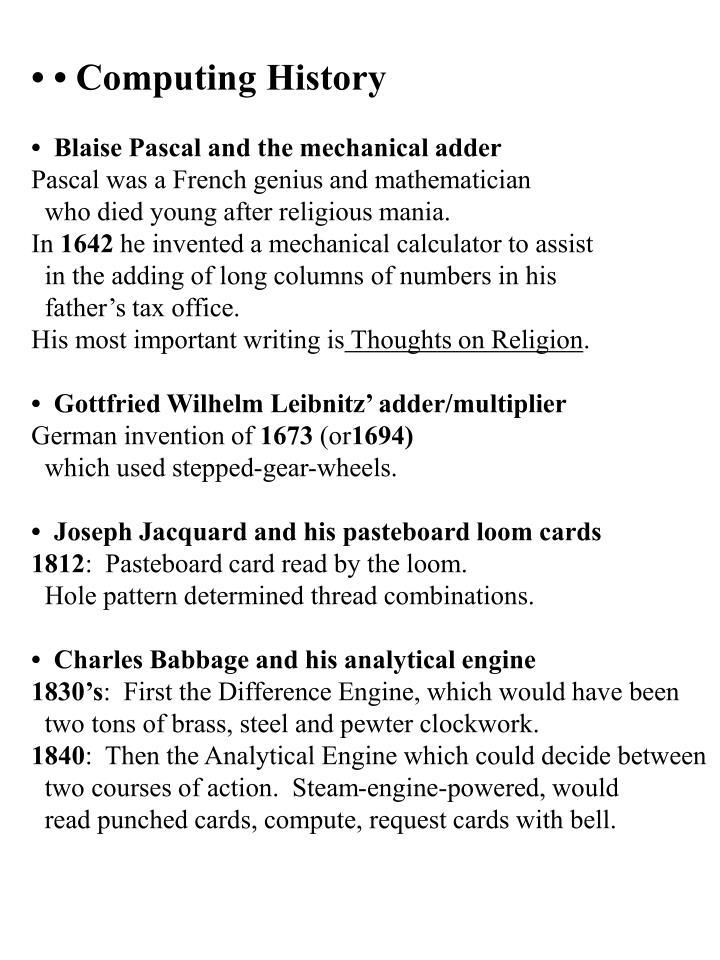 • • Computing History