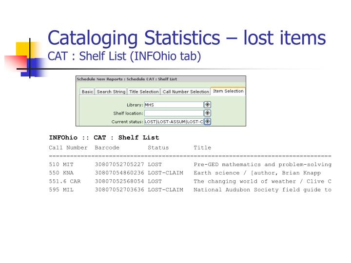 Cataloging Statistics – lost items