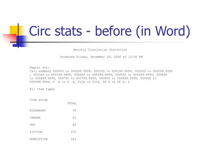 Circ stats - before (in Word)