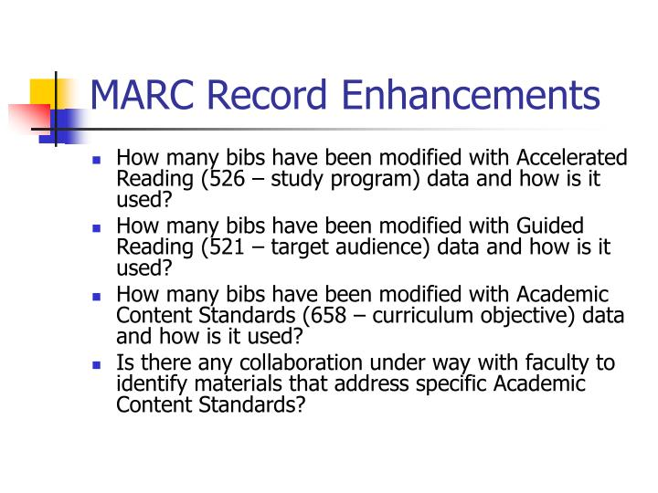 MARC Record Enhancements