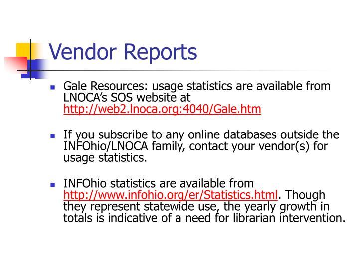 Vendor Reports