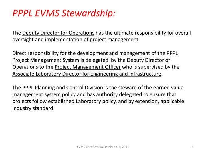 PPPL EVMS Stewardship: